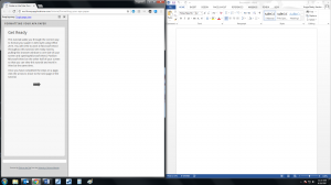 Browser tutorial on the left and Word on the right